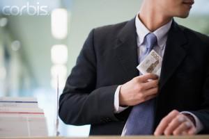 Businessman Stealing Money