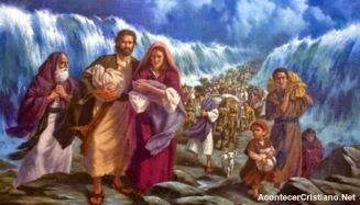 El pueblo Hebreo cruzando el mar Rojo.